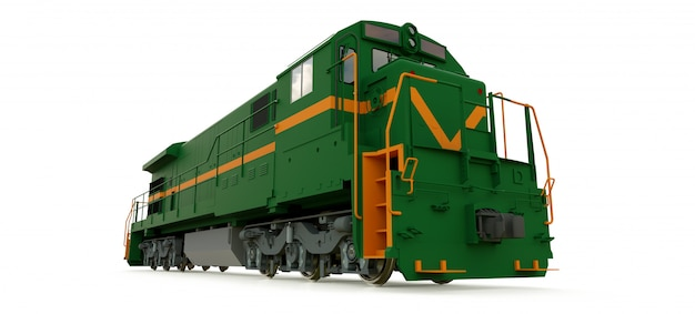Modern green diesel railway locomotive with great power and strength for moving long and heavy railroad train Premium Photo