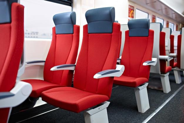 Modern high speed train interior. Premium Photo