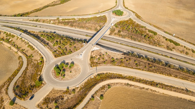 Modern highway taken by drone Free Photo