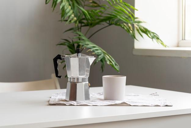 Modern home decor with coffee machine Free Photo