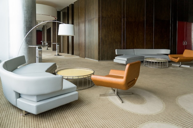 Modern Hotel Lobby With Hallway Or Office Lounge Room. Free Photo