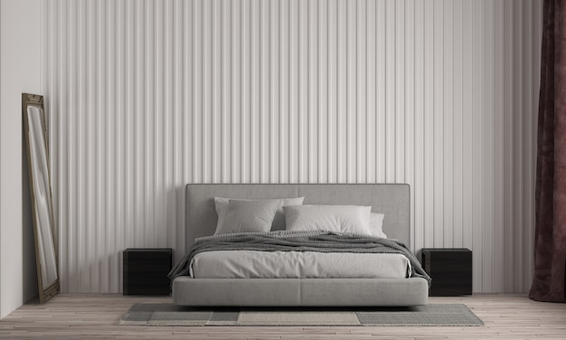 Modern house and bedroom and mock up furniture interior design and white wall texture background Premium Photo