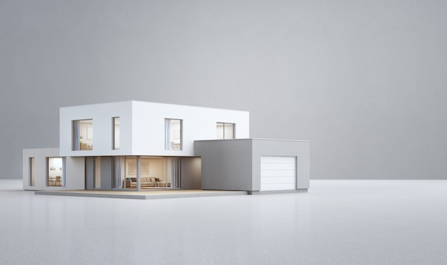 Modern house on white floor with empty concrete wall background.