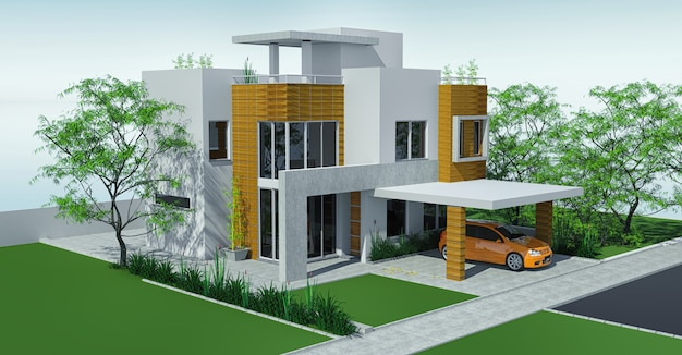 Modern house with carport lawn with mini garden. Premium Photo