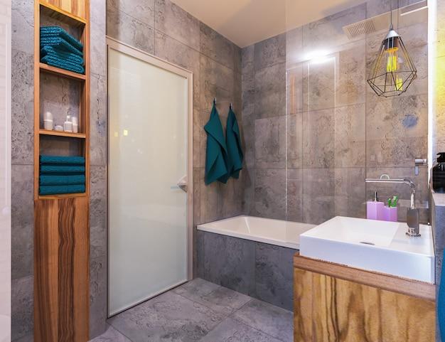 Nowoczesne wnętrze łazienki na poddaszu Premium Photo