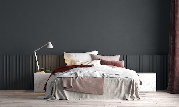 현대적인 인테리어 디자인과 침실과 검은 벽 질감의 공간을 모의 프리미엄 사진