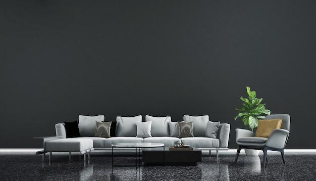 현대적인 인테리어 디자인과 거실과 검은 벽 질감의 공간을 모의 프리미엄 사진