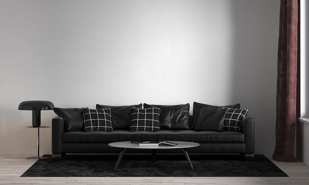 현대적인 인테리어 디자인과 거실과 흰 벽 질감의 공간을 모의 프리미엄 사진
