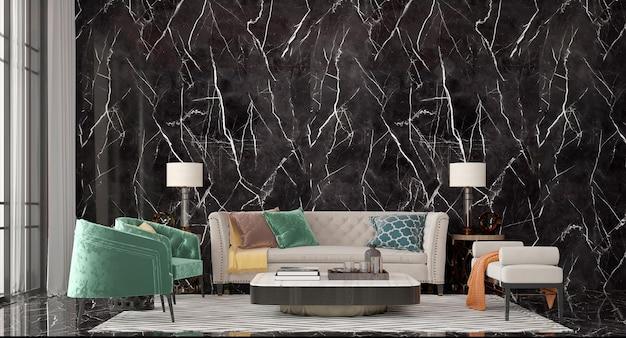 현대적인 인테리어 디자인과 럭셔리 리빙룸 모의 프리미엄 사진