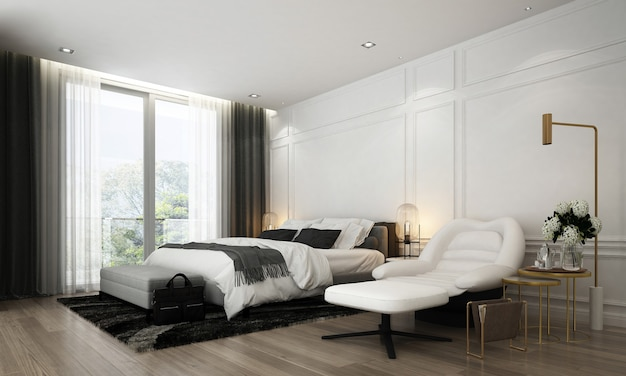 Modern interior design of bedroom and furniture decoration mock up room and white wall texture background Premium Photo