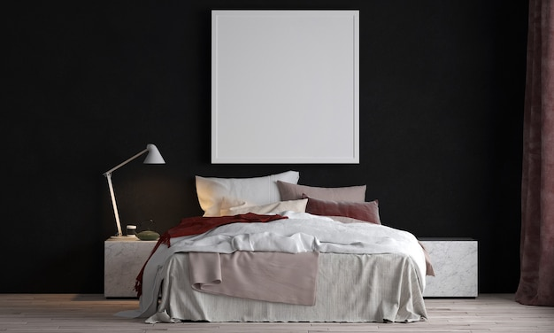 Modern interior design and mock up room of bedroom and black wall texture Premium Photo