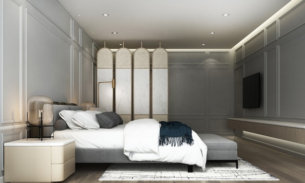 Modern interior design and mock up room of bedroom and gray wall texture Premium Photo