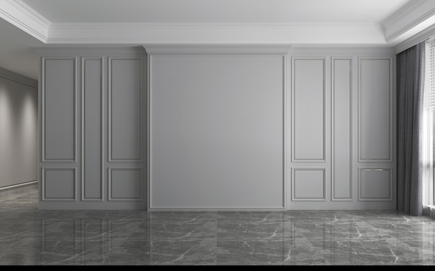 Modern interior of empty luxury living room design and grey wall texture background, 3d rendering