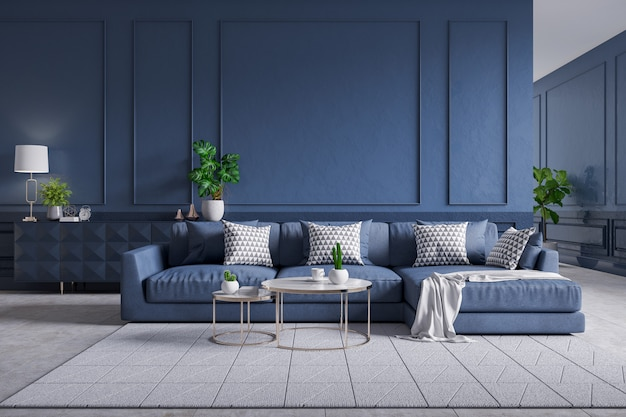 Premium Photo Modern Interior Of Living Room Blue Sofa With Cofee Table On Carpet Tiles And Dark Blue Wall 3d Rendering