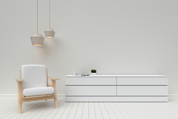 Modern interior of living room with wooden cabinet and sofa,3d rendering Premium Photo