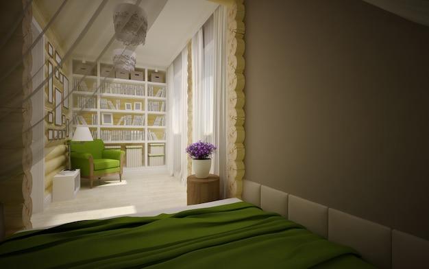 Современный интерьер деревянного дома Premium Фотографии