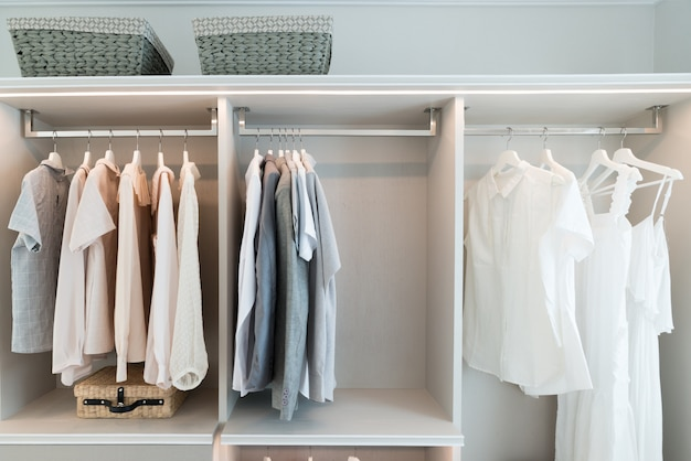 Modern interior wardrobe with shirt and dress in shelf. Premium Photo