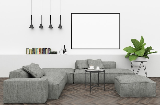 . Modern interior with empty horizontal frame Photo   Premium Download