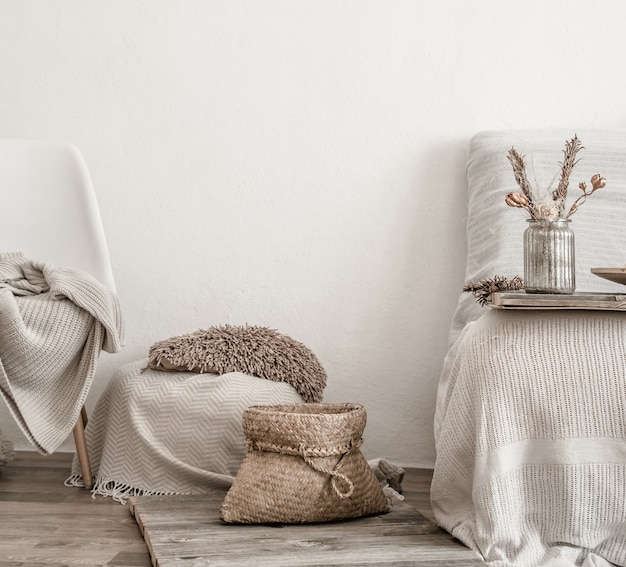 Modern interior with home items . coziness and comfort at home . Free Photo