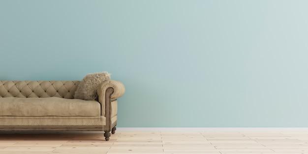 Modern interior with vintage leather sofa, 3d rendering. Premium Photo
