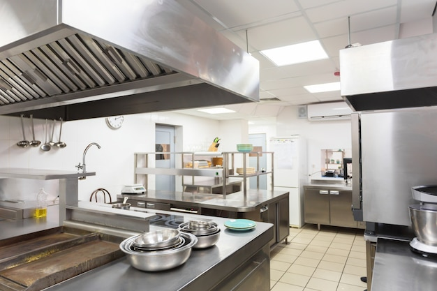 Modern kitchen equipment in a restaurant Premium Photo