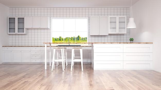 Modern kitchen interior with furniture.3d rendering Premium Photo