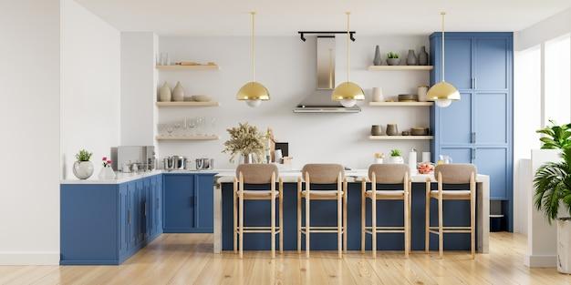 Современный интерьер кухни с мебелью. стильный интерьер кухни с белой стеной. 3d визуализация Premium Фотографии