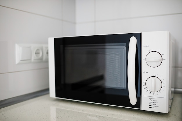 Modern kitchen interior with microwave oven Premium Photo
