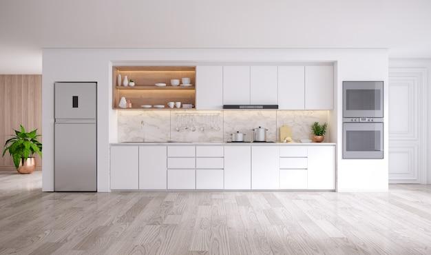 Modern kitchen white room interior .3drender Premium Photo