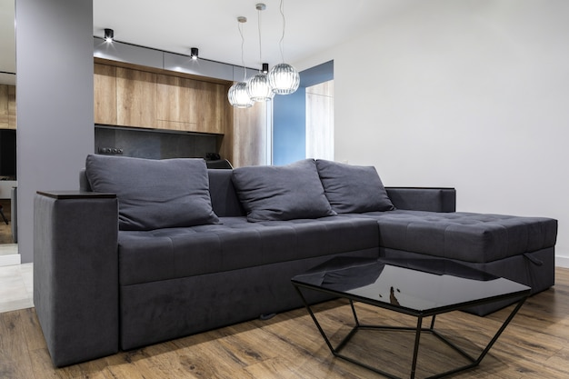Modern living room design with comfy sofa Free Photo
