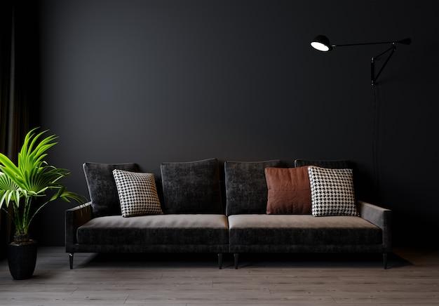 현대 거실 인테리어 배경, 어두운 벽, 스칸디나비아 스타일, 3d 일러스트 레이 션. 3d 렌더링 프리미엄 사진