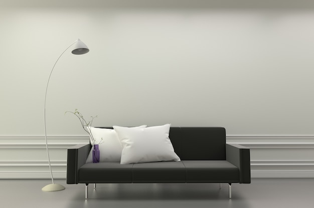 Modern living room interior - black sofa and white pillows