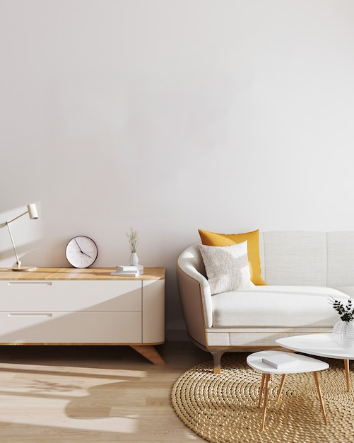 Modern living room interior . mockup, living room with white wall and modern minimalistic furniture. scandinavian style, stylish living room interior. 3d illustration Premium Photo