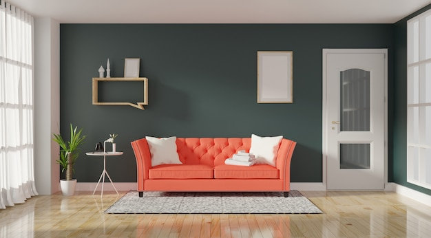 Modern living room interior with living coral color sofa and green plants Premium Photo