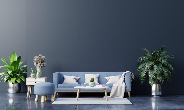 Интерьер современной гостиной с диваном и зелеными растениями, лампой, столом на темной стене Premium Фотографии