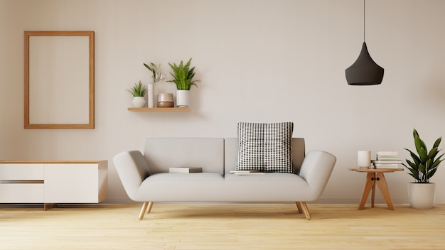 Modern living room interior with sofa and green plants, lamp, table on living . 3d renderin. Premium Photo