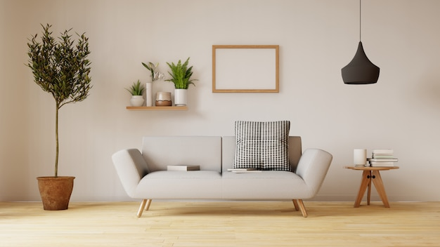 Modern living room interior with sofa and green plants, lamp, table on living room Premium Photo