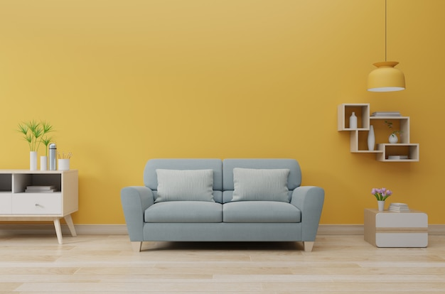 Premium Photo | Modern living room interior with sofa and green plants,  lamp, table on yellow wall.