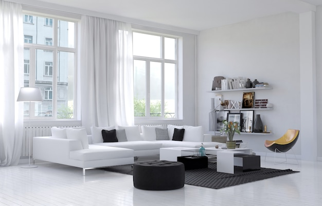 modern living room interior with sofa and green plants