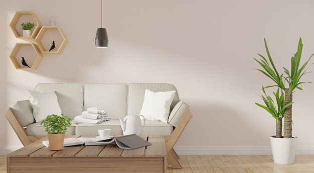 Modern living room interior with sofa and green plants Premium Photo