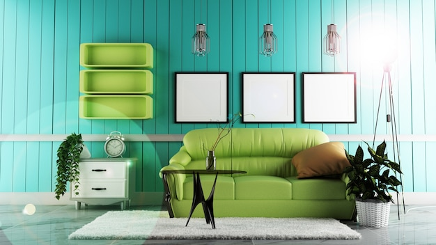 Modern living room interior with sofa green and white carpet. 3d rendering Premium Photo