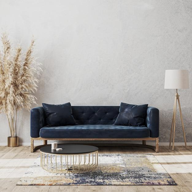 Premium Photo Modern Living Room Luxury Interior Design Mock Up With Dark Blue Sofa