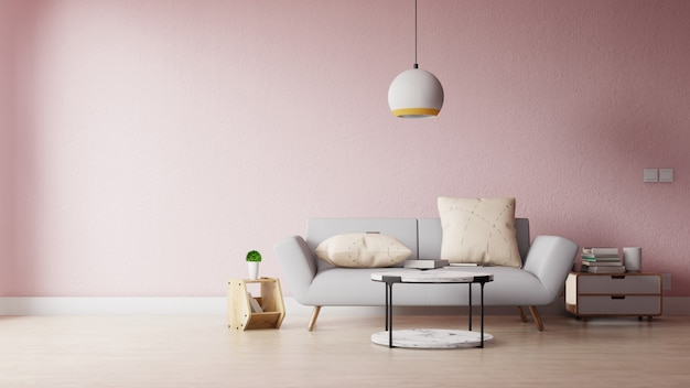 Modern living room with colorful decoration Premium Photo