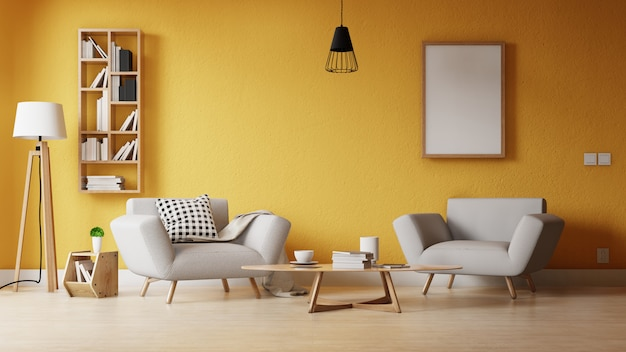 Modern living room with a empty poster on the wall ...