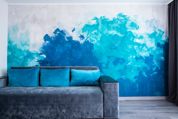 Modern living room with painted wall Free Photo