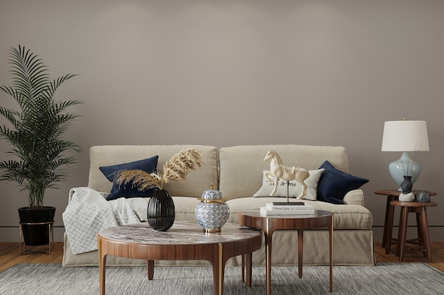 Modern living room with sofa and pillow Premium Photo