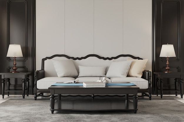Modern living room with sofa and white pillow Premium Photo