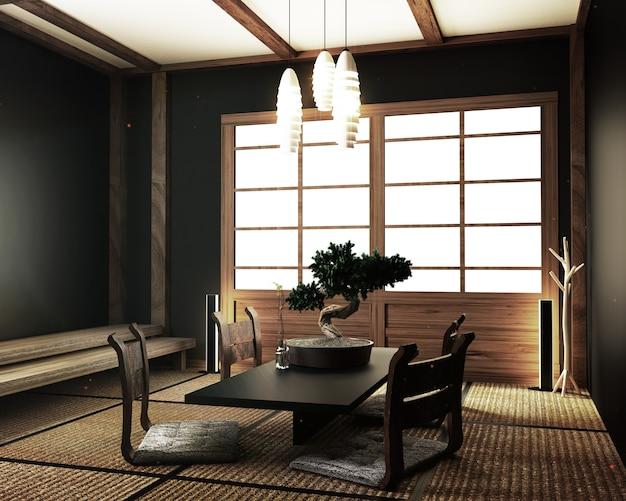 Modern living room with table katana sword lamp bonsai tree Premium Photo
