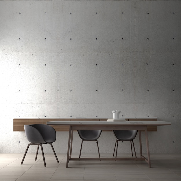 Modern loft interior design of dining room and minial table and chair and concrete wall Premium Photo