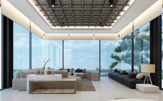 아파트 또는 콘도 3d 렌더링에 나무 질감과 현대 로프트 대기실 메인 홀 디자인 프리미엄 사진